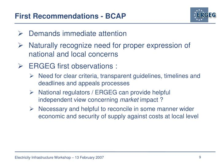 First Recommendations - BCAP