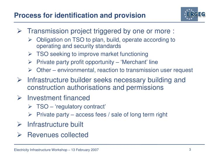 Process for identification and provision