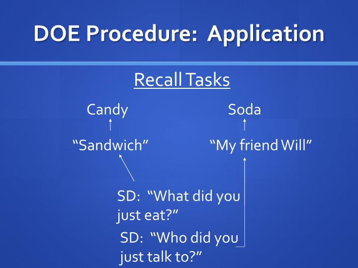 DOE Procedure:  Application
