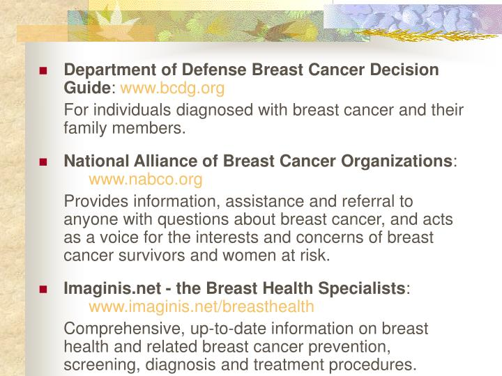 Department of Defense Breast Cancer Decision Guide