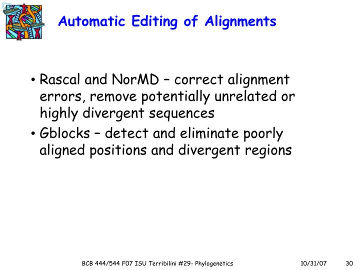 Automatic Editing of Alignments