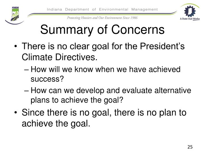 Summary of Concerns