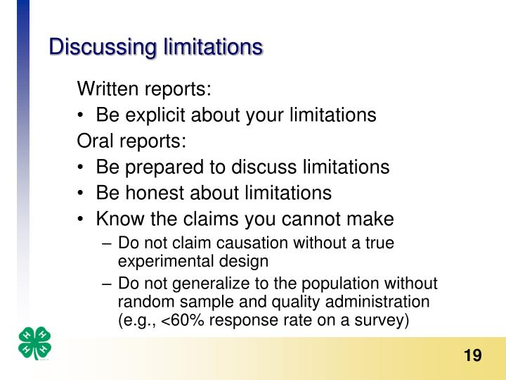 Discussing limitations