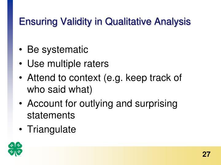 Ensuring Validity in Qualitative Analysis