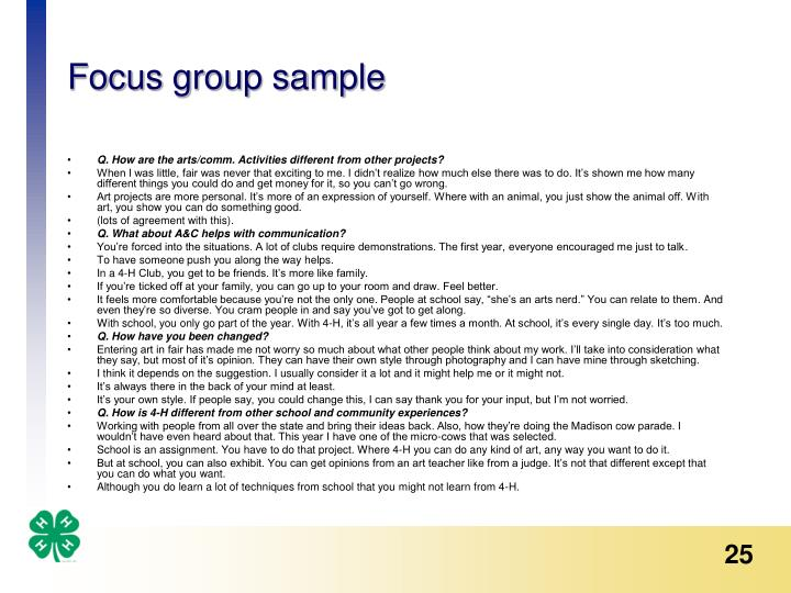 Focus group sample