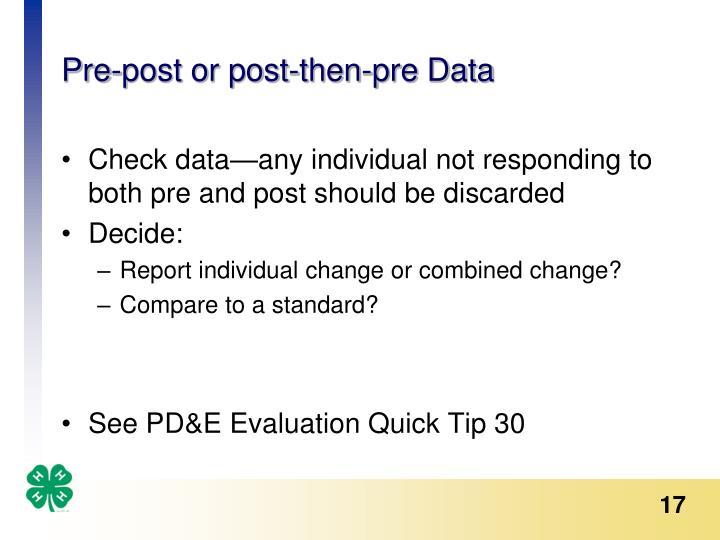 Pre-post or post-then-pre Data