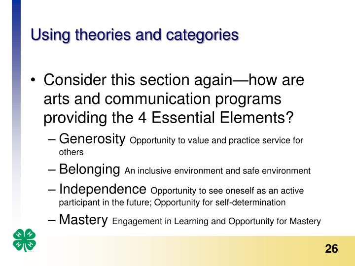Using theories and categories