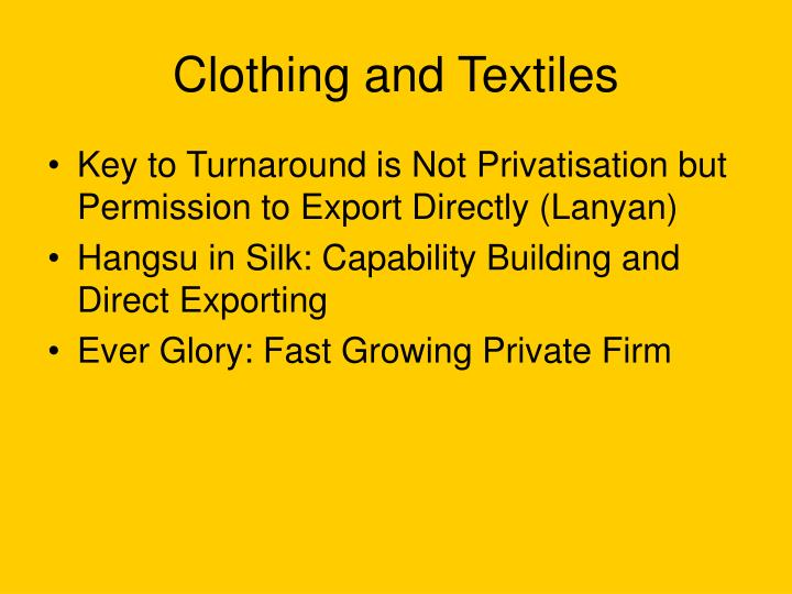 Clothing and Textiles