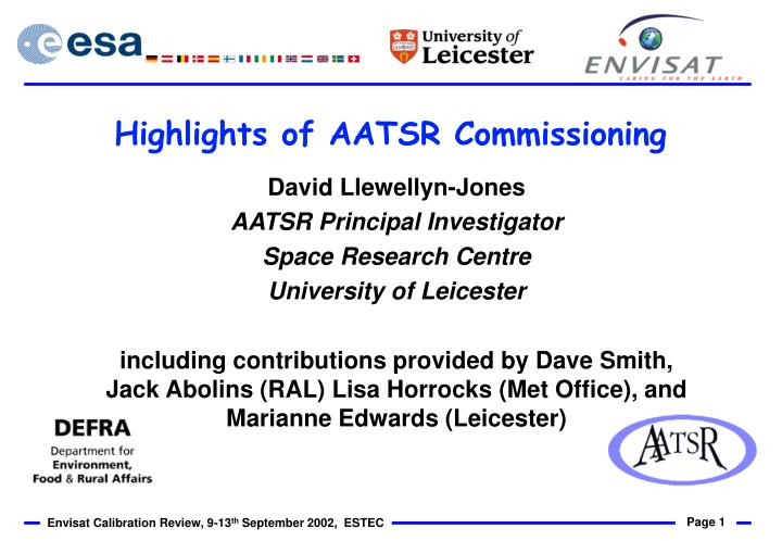 highlights of aatsr commissioning