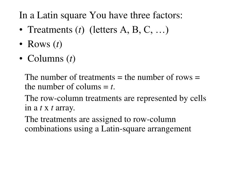 latin square design Latin square design | encyclopedia of research design in general, a latin square of order n is an n × n square such that each row (and each column) is a permutation (or an arrangement) of the.