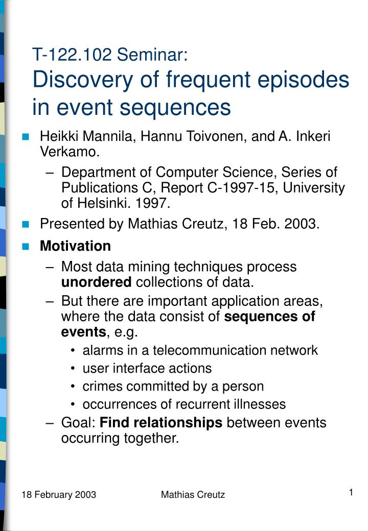 t 122 102 seminar discovery of frequent episodes in event sequences n.