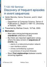 t 122 102 seminar discovery of frequent episodes in event sequences