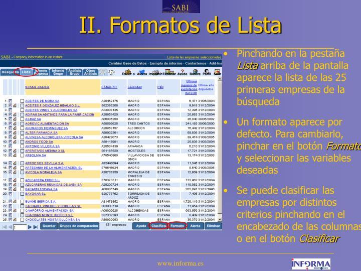 II. Formatos de Lista