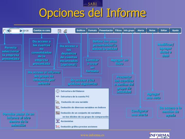 Opciones del Informe
