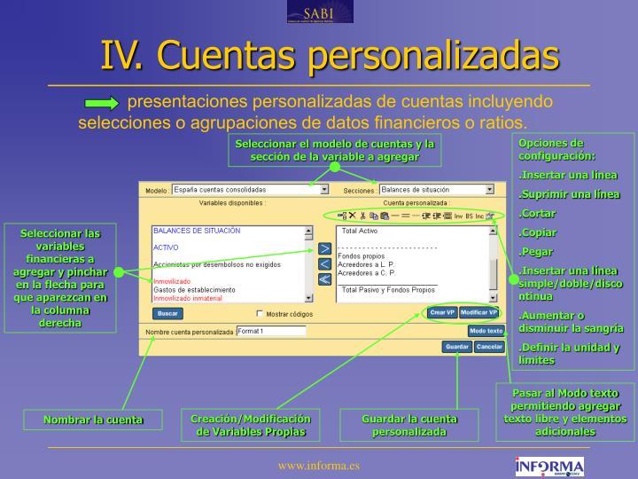 IV. Cuentas personalizadas