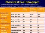 observed urban hydrographs