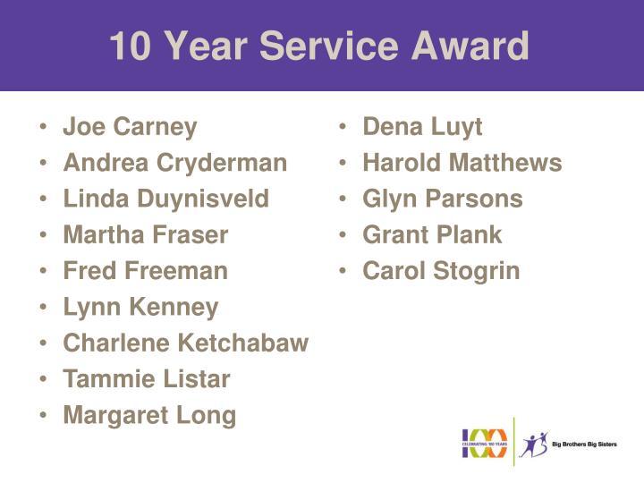 10 Year Service Award