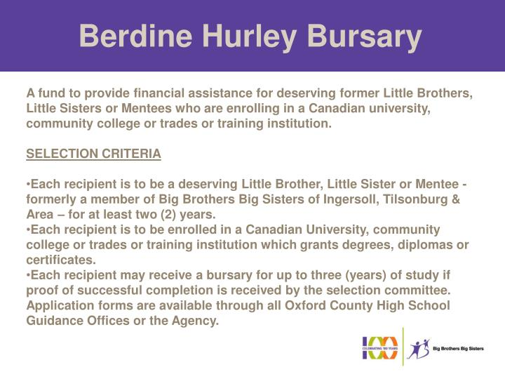 Berdine Hurley Bursary