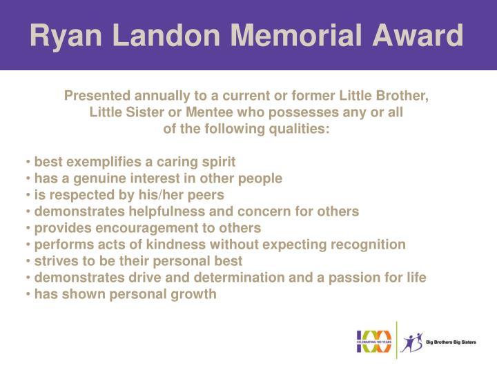 Ryan Landon Memorial Award