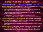 three styles of multicore jobs