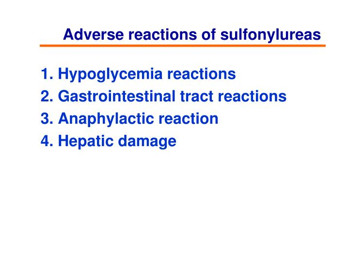 Adverse reactions of sulfonylureas