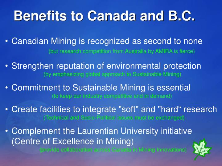 Benefits to Canada and B.C.