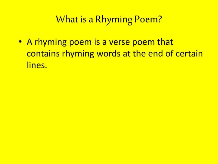 What is a Rhyming Poem?