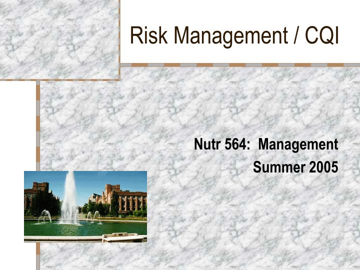 Risk management cqi
