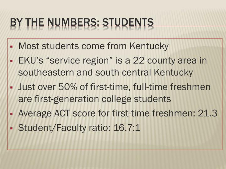 Most students come from Kentucky