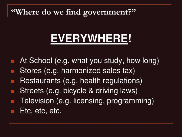 Where do we find government