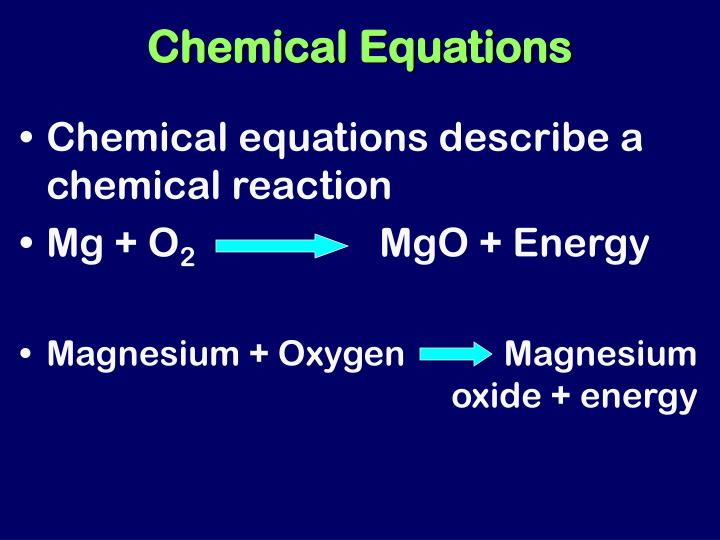 chemical equation and reaction A chemical equation describes the reactants, products, and quantities of chemicals in a reaction jeffrey coolidge / getty images what is the difference between a chemical reaction and the chemical equation the terms are often used interchangeably, but they are technically different terms.