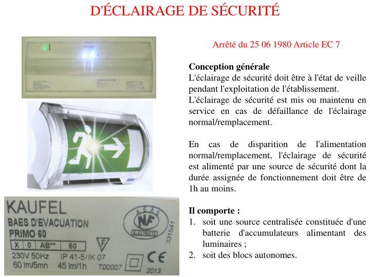 D'ÉCLAIRAGE DE SÉCURITÉ