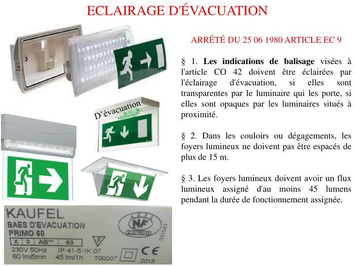ECLAIRAGE D'ÉVACUATION