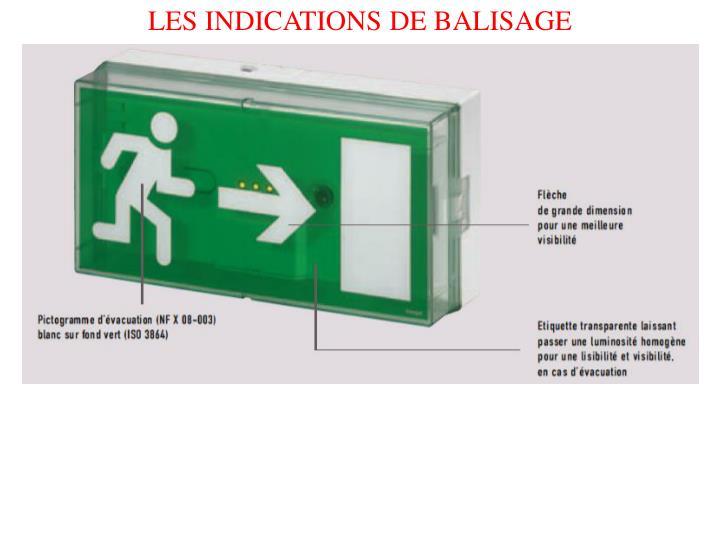 LES INDICATIONS DE BALISAGE