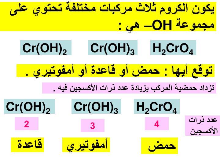 يكون الكروم ثلاث مركبات مختلفة تحتوي على مجموعة