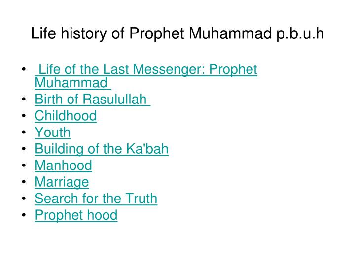 PPT - Life history of Prophet Muhammad p b u h PowerPoint