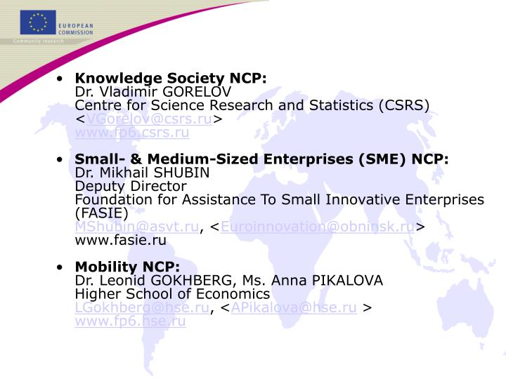 Knowledge Society NCP: