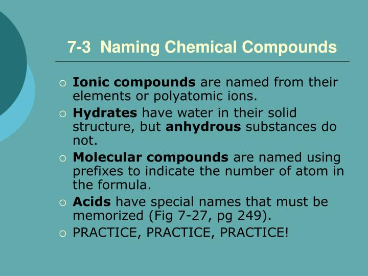 7-3  Naming Chemical Compounds