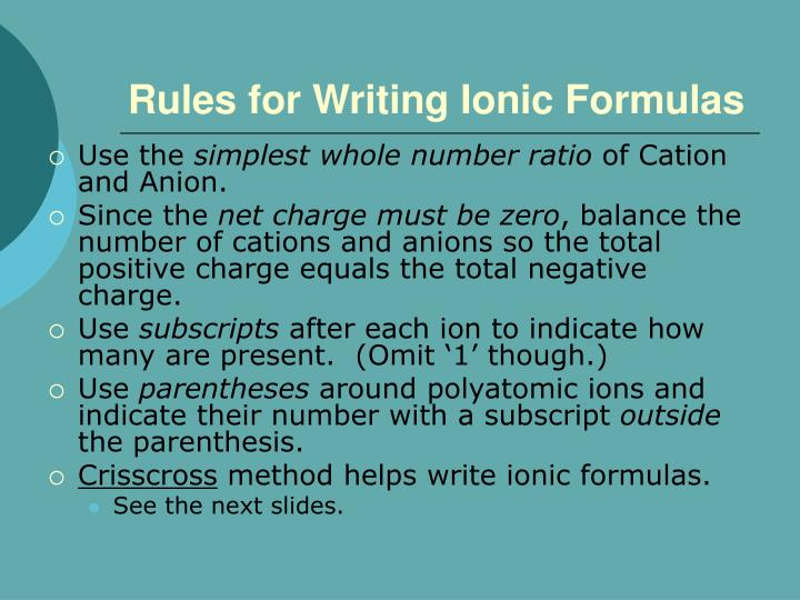 Rules for Writing Ionic Formulas