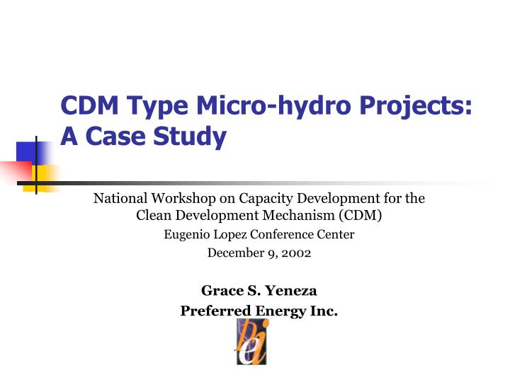 cdm type micro hydro projects a case study n.