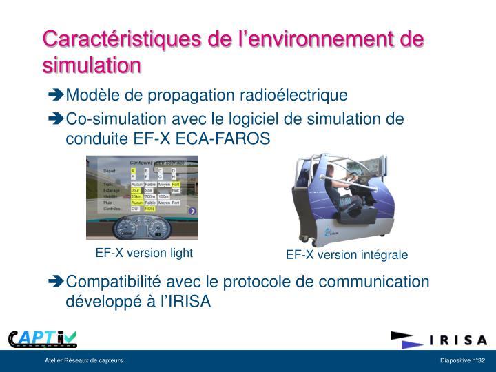 Caractéristiques de l'environnement de simulation