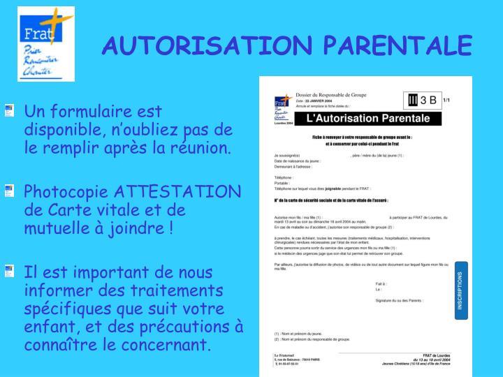 AUTORISATION PARENTALE