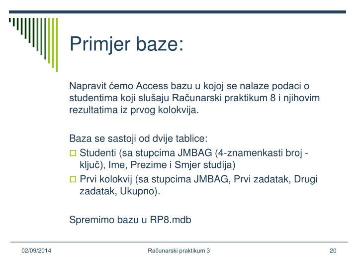 Primjer baze: