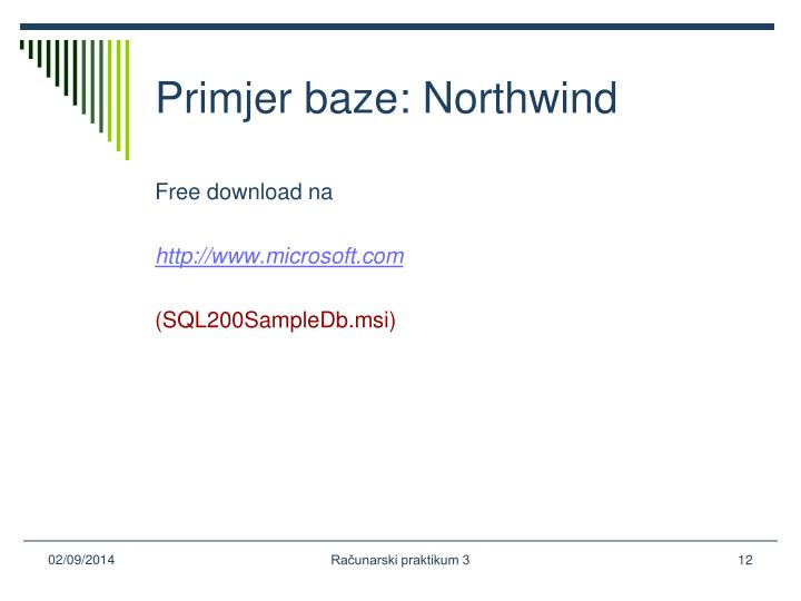 Primjer baze: Northwind