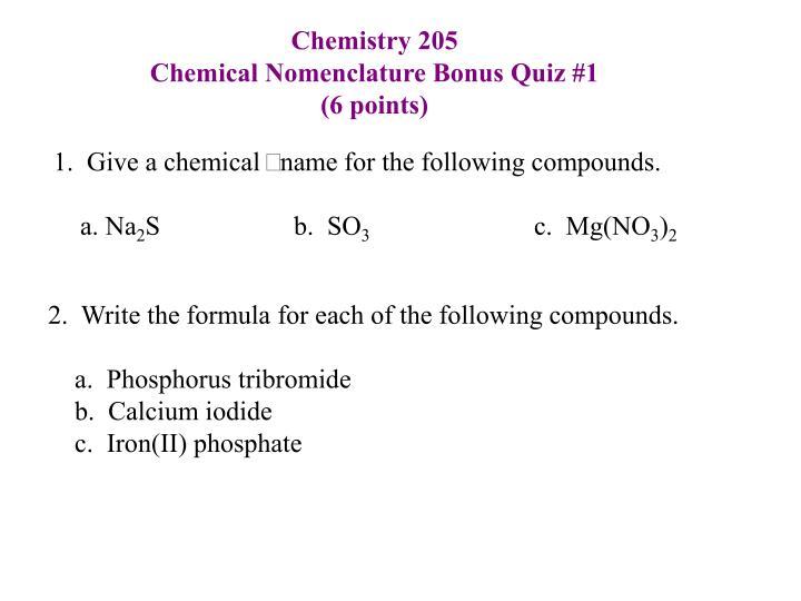 writing chemical formulas quiz