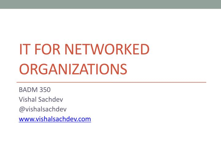 it for networked organizations n.