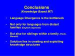 conclusions knowledge based mt