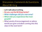 discussion comments questions about writing
