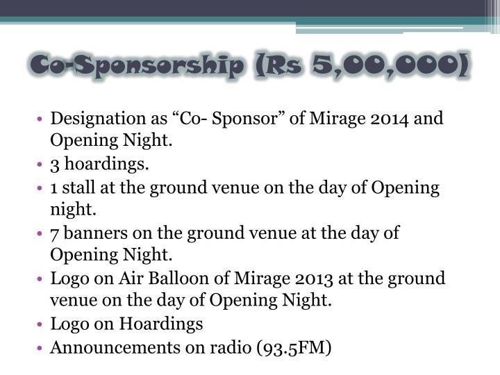 Co-Sponsorship (Rs 5,00,000)