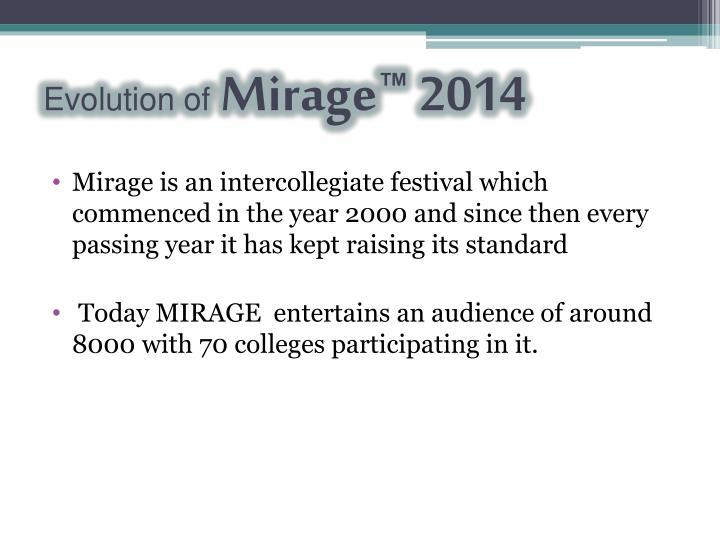 Evolution of mirage 2014
